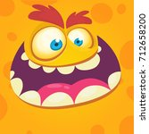 cartoon monster face. vector... | Shutterstock .eps vector #712658200