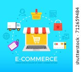 e commerce flat illustration... | Shutterstock .eps vector #712659484