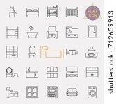 interiors furniture line icon... | Shutterstock .eps vector #712659913