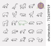 animals line icons set | Shutterstock .eps vector #712659919