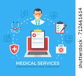 medical services flat... | Shutterstock .eps vector #712661614