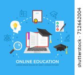 online education flat... | Shutterstock .eps vector #712662004