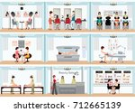 beauty salon info graphic of... | Shutterstock .eps vector #712665139