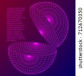 wireframe mesh hemisphere shell.... | Shutterstock .eps vector #712670350