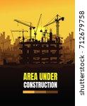 construction silhouette... | Shutterstock .eps vector #712679758