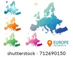 europe map   set geometric... | Shutterstock .eps vector #712690150