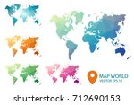 world map   set geometric... | Shutterstock .eps vector #712690153