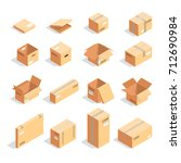 set of boxes in isometric view... | Shutterstock .eps vector #712690984