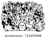 Stock vector doodle dogs and cats group different species of dogs and cats vector illustration 712695088