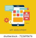 app development flat design.... | Shutterstock .eps vector #712695676