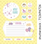 set of planner elements with... | Shutterstock .eps vector #712696726