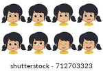 set of emotion cute girl  angry ... | Shutterstock .eps vector #712703323