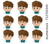 set of emotion cute boy  smile  ... | Shutterstock .eps vector #712703344