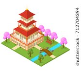 japanese temple isometric view... | Shutterstock .eps vector #712704394