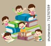 kids reading books and enjoying ...   Shutterstock .eps vector #712707559