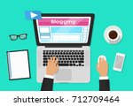 blog  blogging and blogglers... | Shutterstock .eps vector #712709464
