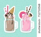 crazy milkshakes set. set of... | Shutterstock .eps vector #712710568