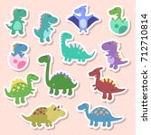 cute vector set with dinosaurs. ...   Shutterstock .eps vector #712710814