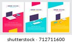 flat style digital cover set... | Shutterstock .eps vector #712711600