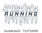 marathon runners  group of... | Shutterstock .eps vector #712712698