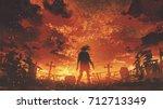 zombie walking in the burnt... | Shutterstock . vector #712713349