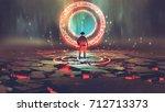 man standing in front of magic... | Shutterstock . vector #712713373