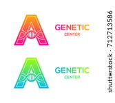 letter a colorful with dna...   Shutterstock .eps vector #712713586