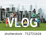 vlog concept. young people with ... | Shutterstock .eps vector #712721626