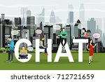 chat concept illustration of... | Shutterstock .eps vector #712721659