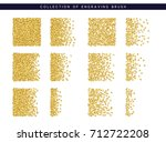 gold sequins texture. set brush ... | Shutterstock .eps vector #712722208