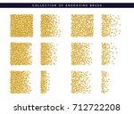 Gold Sequins Texture. Set Brus...