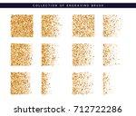 set of brush stipple gold... | Shutterstock .eps vector #712722286