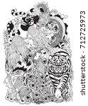 four celestial animals in feng... | Shutterstock .eps vector #712725973