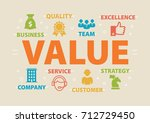value. concept with icons and... | Shutterstock .eps vector #712729450