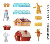 farm buildings and... | Shutterstock .eps vector #712731778