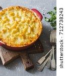 vegetarian shepherd's pie.... | Shutterstock . vector #712738243