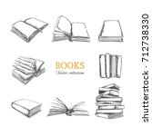 books collection. vector hand... | Shutterstock .eps vector #712738330