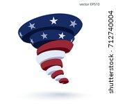 hurricane of stripes and stars. ... | Shutterstock .eps vector #712740004