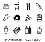 fast food icon set  flat design ... | Shutterstock .eps vector #712741690