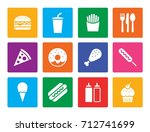 fast food square icon set  flat ... | Shutterstock .eps vector #712741699