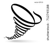 hurricane lettering. bent... | Shutterstock .eps vector #712745188