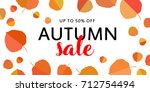 autumn sale banner with fall... | Shutterstock .eps vector #712754494