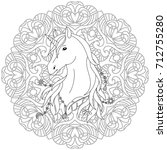 unicorn black and white... | Shutterstock .eps vector #712755280