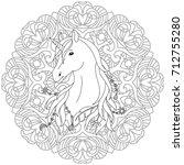 unicorn black and white... | Shutterstock .eps vector #712755280