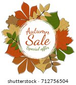 concept of autumnal poster with ... | Shutterstock .eps vector #712756504