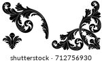 set of vintage baroque ornament ... | Shutterstock .eps vector #712756930
