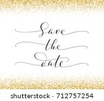 save the date card with falling ... | Shutterstock .eps vector #712757254