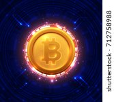 bitcoins and new virtual money... | Shutterstock .eps vector #712758988