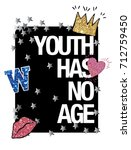 slogan with glitter patch icon... | Shutterstock .eps vector #712759450