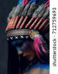 close up portrait of shamanic...   Shutterstock . vector #712759693